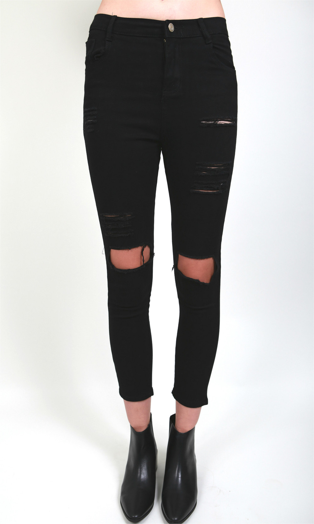 WoahStyle.com | The Free Island Super skinny distressed jeans with busted knees