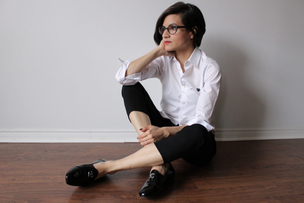 WoahStyle.com | Comme des Garcons PLAY white button up shirt, black cropped pants and Chanel moccasin loafers