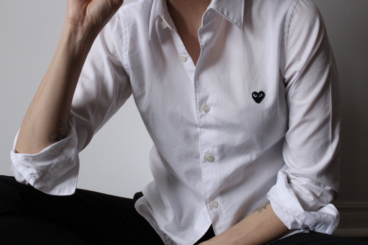 WoahStyle.com | Comme des Garcons PLAY white button up shirt