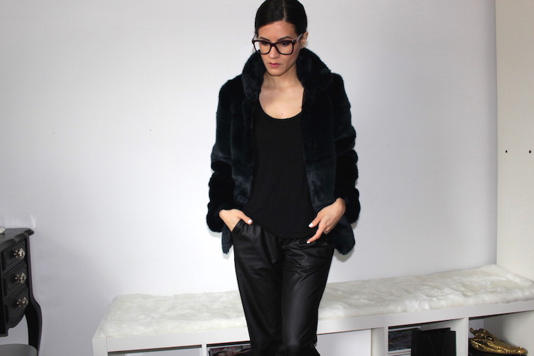 WoahStyle.com | Chanel glasses, Zara blue faux fur, Oak + Fort faux leather trousers