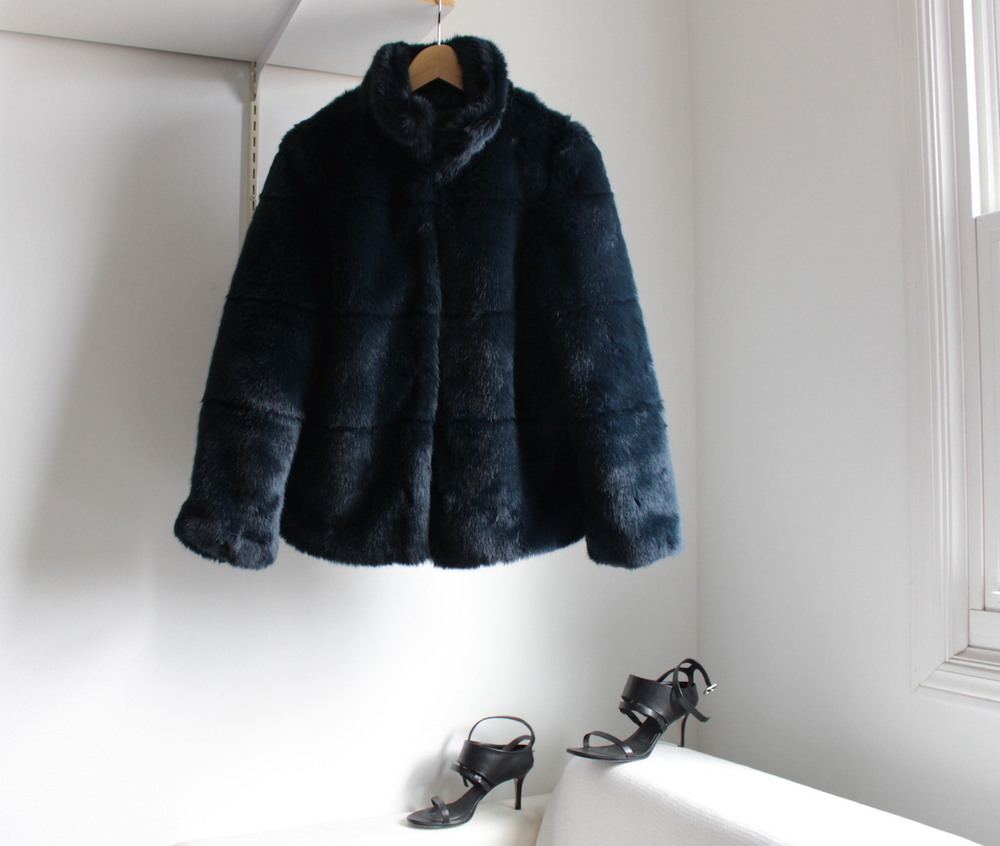 WoahStyle.com | Zara blue faux fur and Alexander Wang sandals