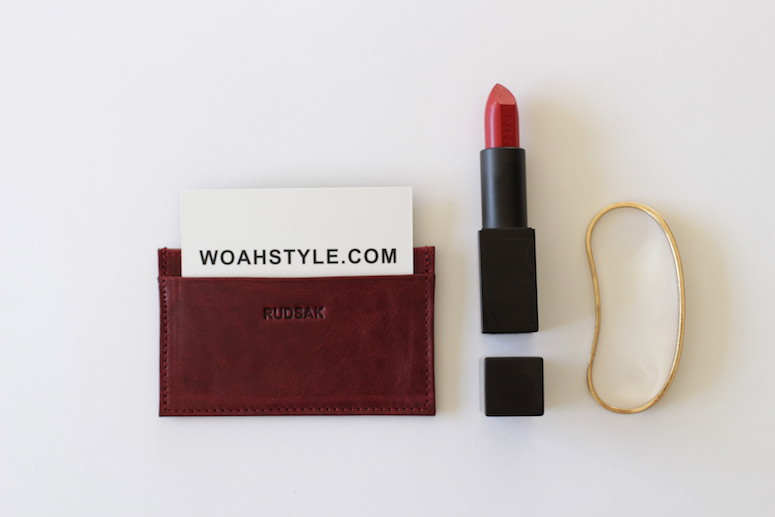 WoahStyle.com | Bordeaux accessories, Rudsak business card holder, NARS Audacious lipstick in Rita, Jenny Bird brass Luna Handpiece