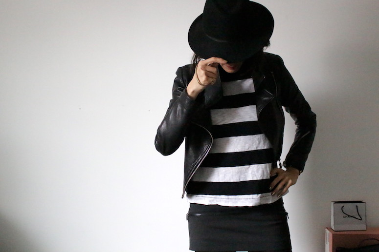 WoahStyle.com | Striped tshirt, Mackage leather jacket, black Acne Studios mini skirt and black hat