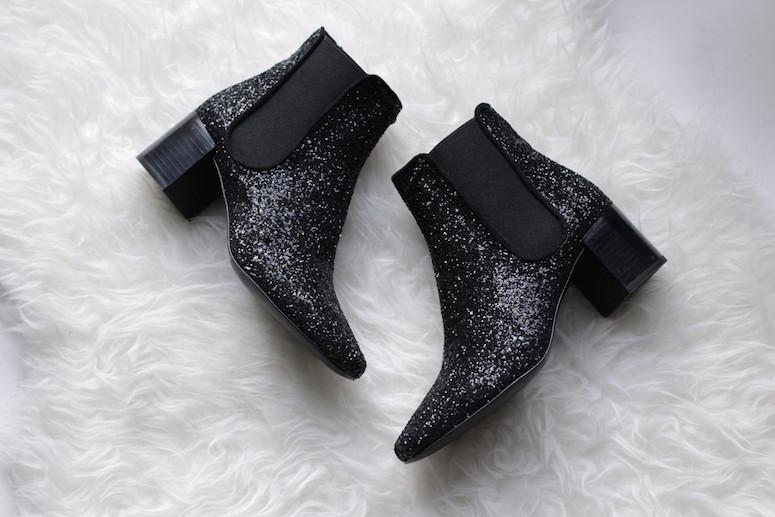 WoahStyle.com | Zara black glitter Chelsea boots