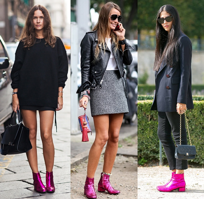 Saint Laurent Paris pink glitter boots