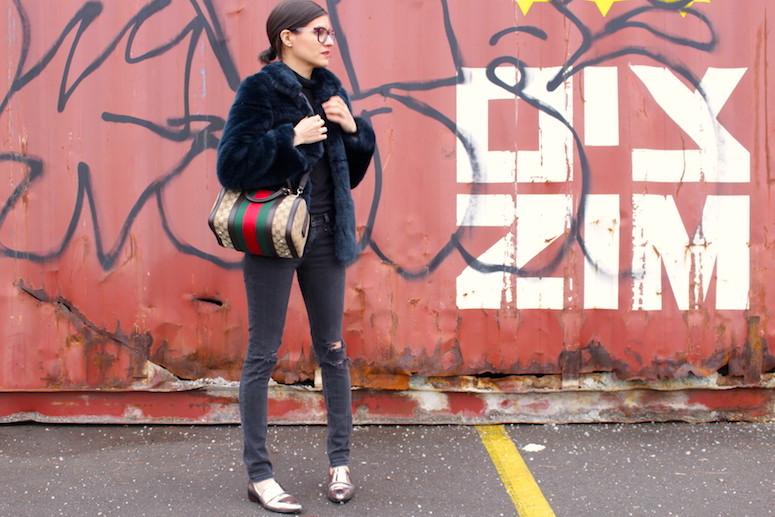 WoahStyle.com | Zara faux fur, Rag & Bone Jeans, Gucci Boston heritage stripes bag, 3.1 Phillip Lim Shoes #streetstyle