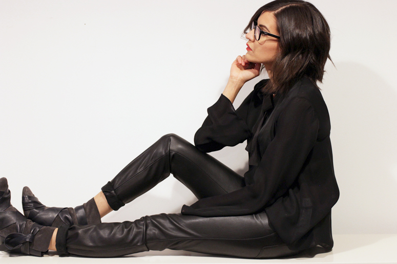 WoahStyle.com | Zara faux leather pants and silk blouse and Isabel Marant boots