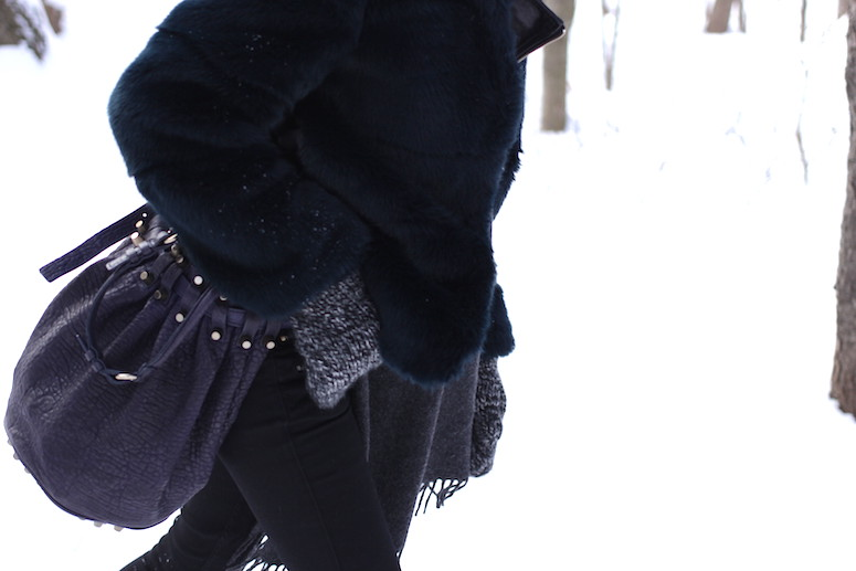 WoahStyle.com | Snow Style, Zara faux fur and Alexander Wang Diego bag