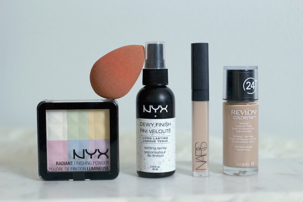 NYX Radiant Finishing Powder & Dewy Finish Setting Spray, Beauty Blender, NARS Radiant Creamy Concealer and Revlon Colourstay Makeup for Normal/Dry Skin