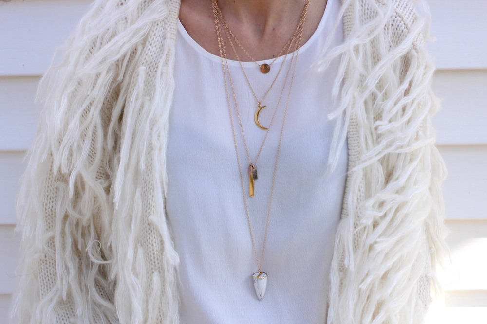 WoahStyle.com | Lisebth WoahStyle.com | Lisebth Jewelry layered necklaces and ivory fringe cardigan layered necklaces and ivory fringe cardigan