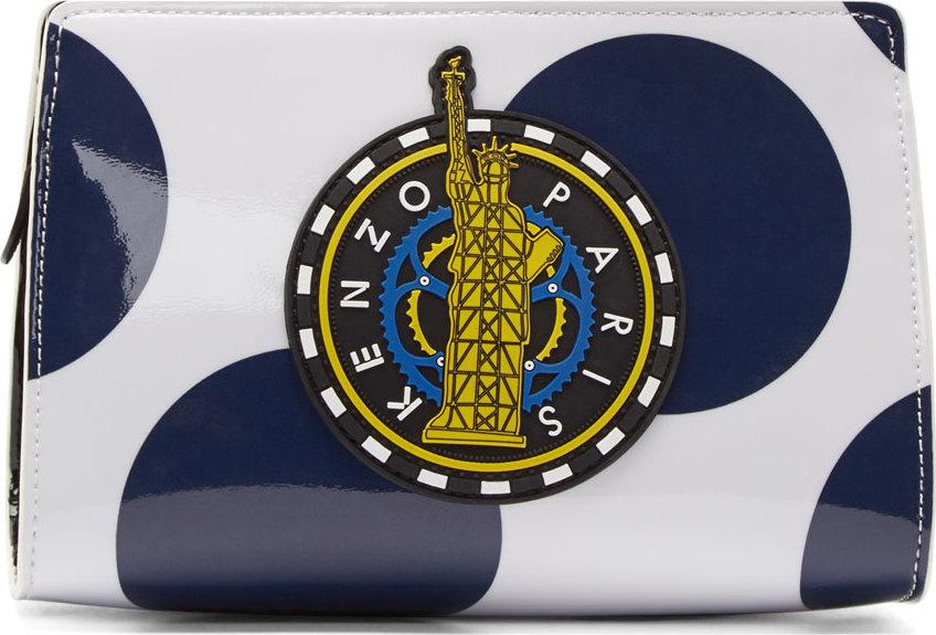 WoahStyle.com | Kenzo White & Navy Polka Dot PVC Cosmetics Pouch