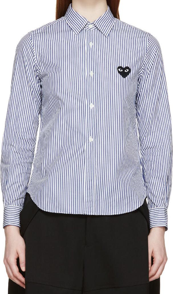 WoahStyle.com | Comme des Garçons Play  White & Blue Striped Logo Shirt