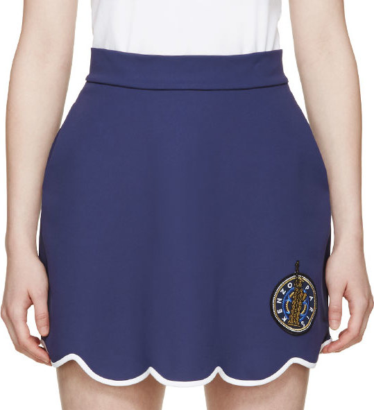 WoahStyle.com | Kenzo  Navy Scalloped Crest Skirt