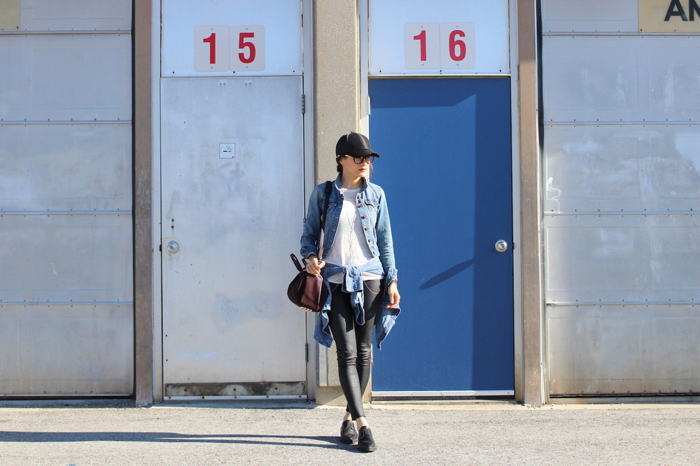 WoahStyle.com | Leather Mackage pants, Denim jacket, Alexander Wang Rockie, Helmut Land shoes and baseball cap.  #denimondenim #streetstyle