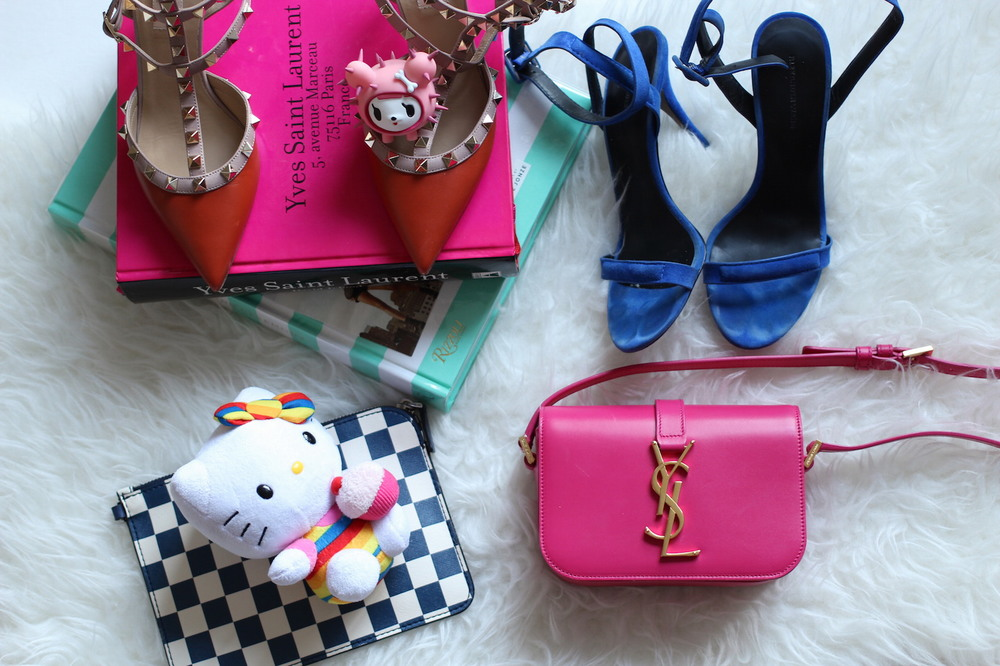 WoahStyle.com | Spring 2015 accessories | Pumpkin coloured Valentino Rockstud kitten heels, Alexander Wang Antonia sandals, Hello Kitty, Pink YSL Classic Small Monogram, Saint Laurent Paris and Tokidoki_0269.JPG