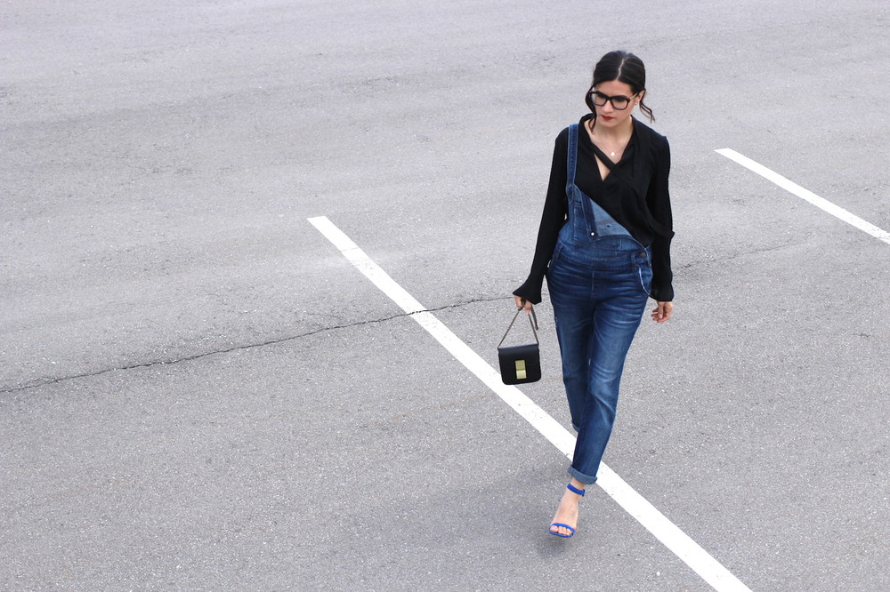 WoahStyle.com | Street Style Denim Overalls with Silk Zara shirt and blue Alexander Wang Antonia heels sandals_1430.JPG
