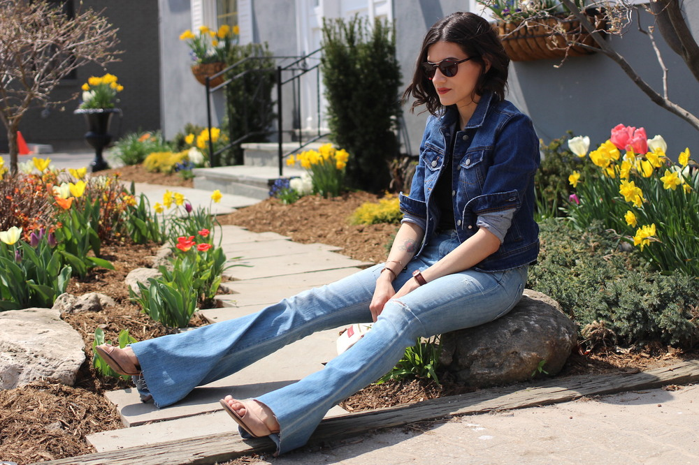 WoahStyle.com | Trending Denim on Denim with  Flared Jeans and MBMJ cross body bag. Street Style_1354.JPG