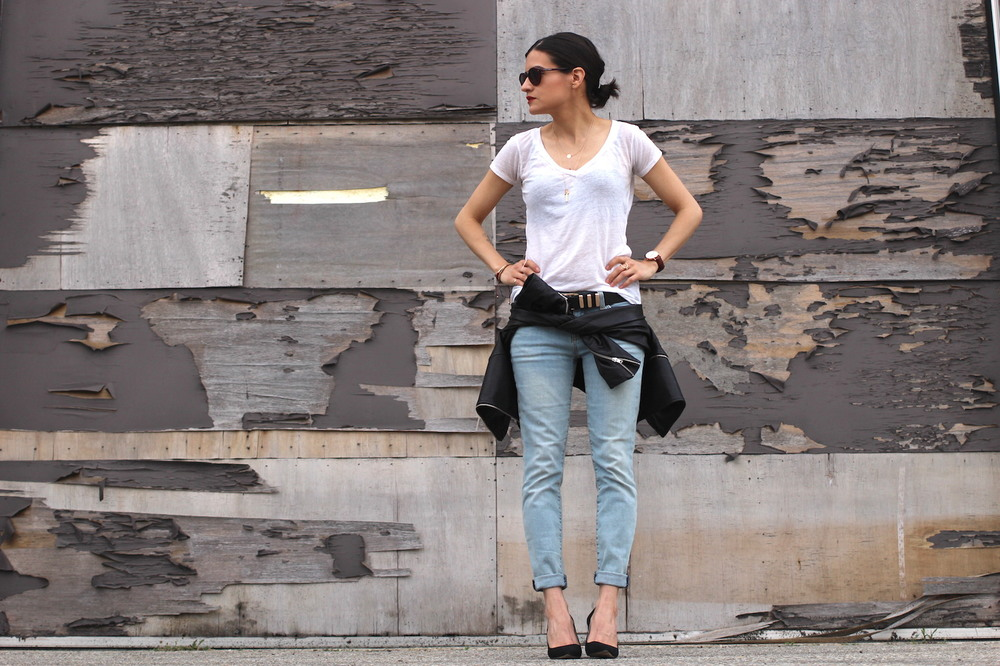 WoahStyle.com | Back to Basics #streetstyle Mackage leather jacket, blue jeans, black pumps and a white tshirt_1635.JPG