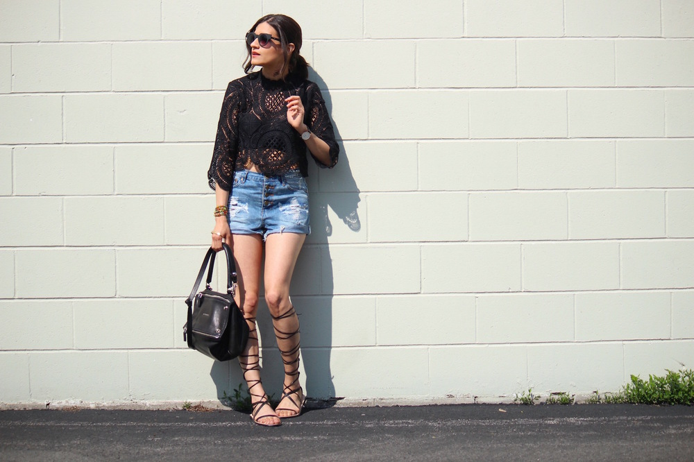 WoahStyle.com | High Waisted Denim Shorts_Black Lace Crop Top_Zara Black Gladiator Sandals_Givenchy Small Studded Pandora_2723.jpg