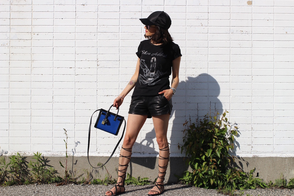 WoahStyle.com_Black Leather Shorts, Gladiator Sandals, Black tshirt, baseball cap and Saint Laurent Baby Sac De Jour_Street_Style_3511.jpg