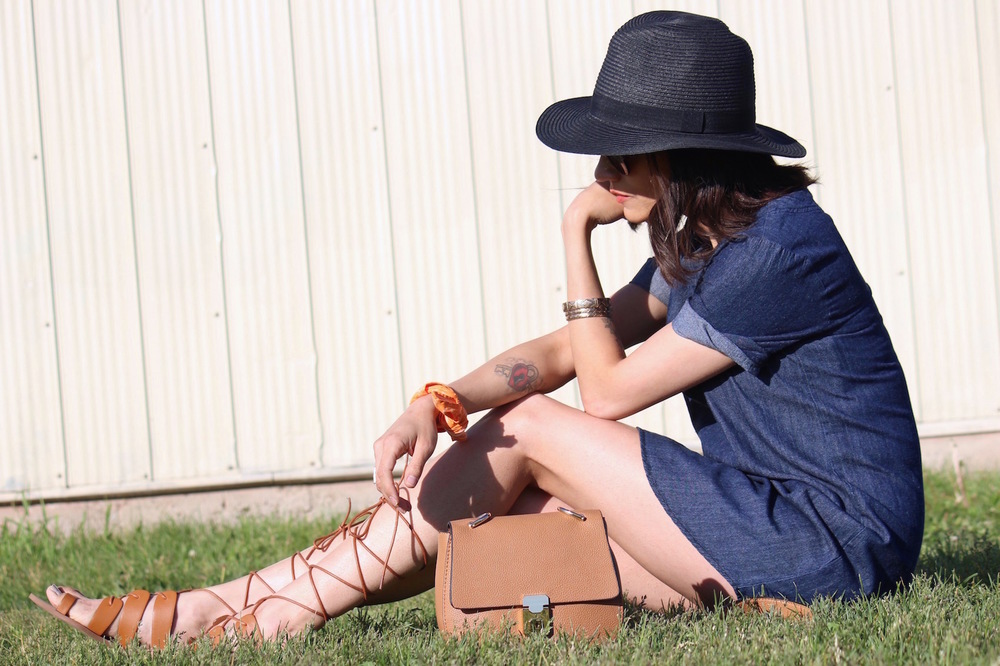 WoahStyle.com - Denim Dress, Gladiator Sandals, Tan Cross body and paper hat_StreetStyle_4508.jpg
