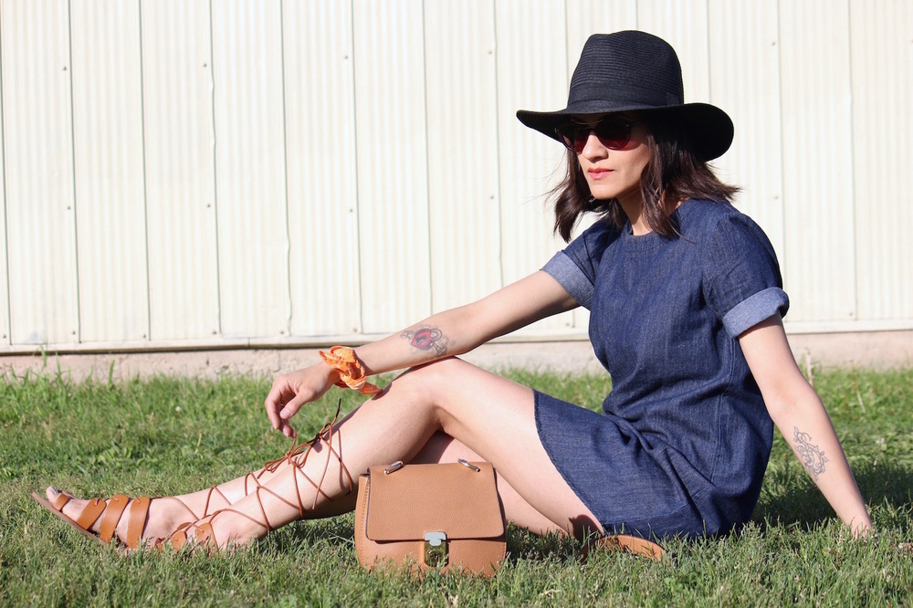 WoahStyle.com - Denim Dress, Gladiator Sandals, Tan Cross body and paper hat_StreetStyle_4526.jpg