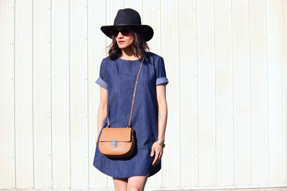 WoahStyle.com - Denim Dress, Gladiator Sandals, Tan Cross body and paper hat_StreetStyle_4423.jpg