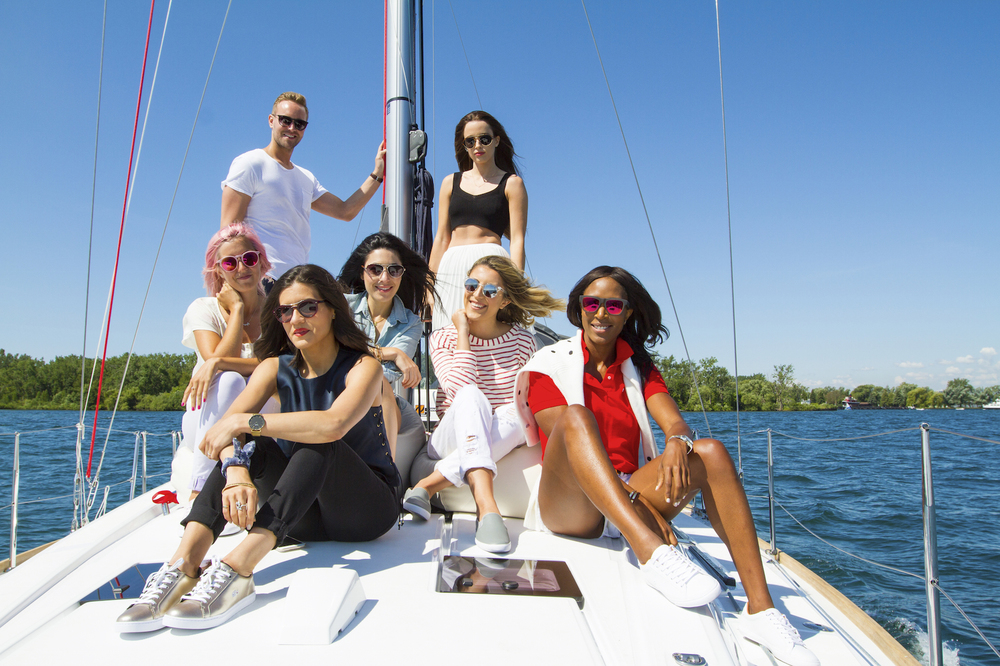 Front to back, left to right: Me, Sasha (sosasha.com), Alyssa (randomactsofpastel.com), Deanne (myfashavenue.com) Stephanie (stephaniesterjovski.com), Colby with Lacoste and Jodi (jodiblk.com).