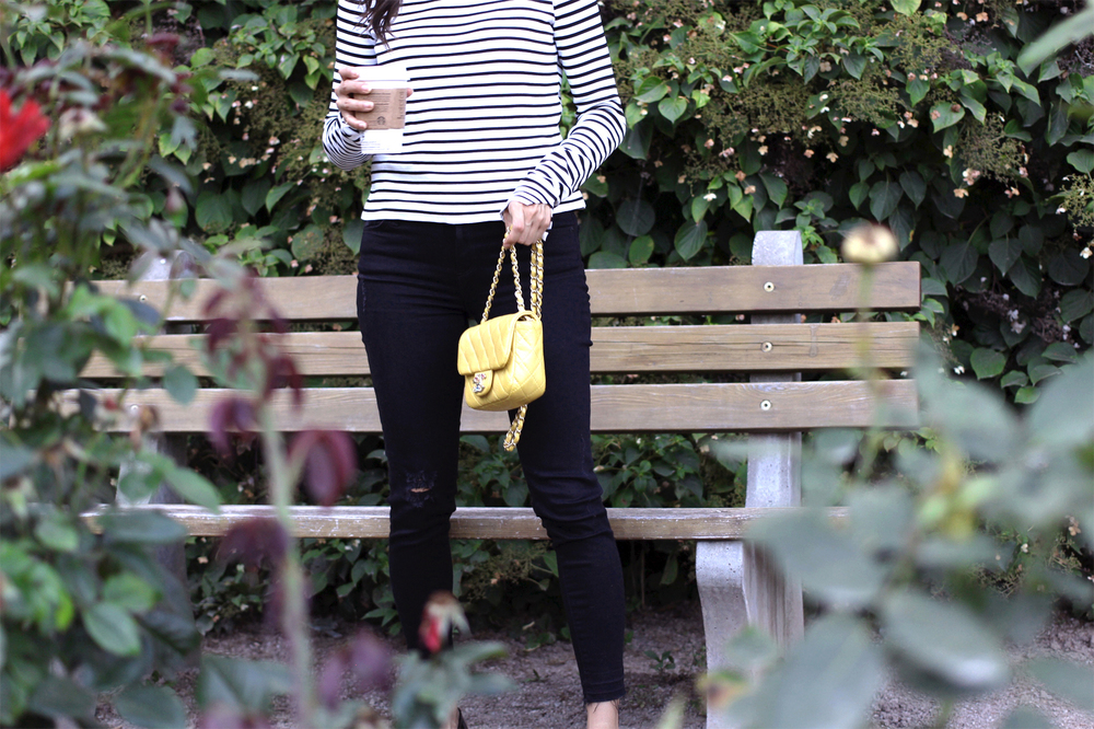 WoahStyle.com_CHANEL PRECIOUS JEWEL MINI FLAP BAG IN YELLOW LAMBSKIN_Zara striped top and black jeans_Chanel black patent leather loafers_Street Style_OOTD_Parisian Style_Chic_9793.jpg