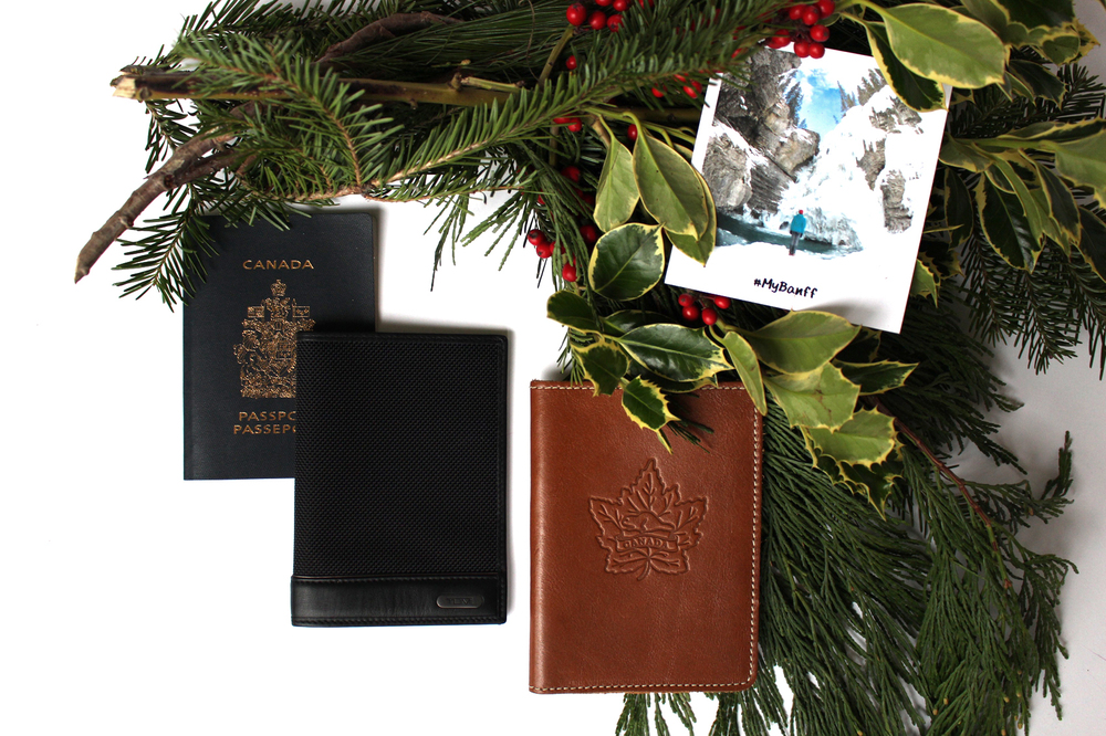 Black passport cover from Tumi and brown leather leather cover from Roots.