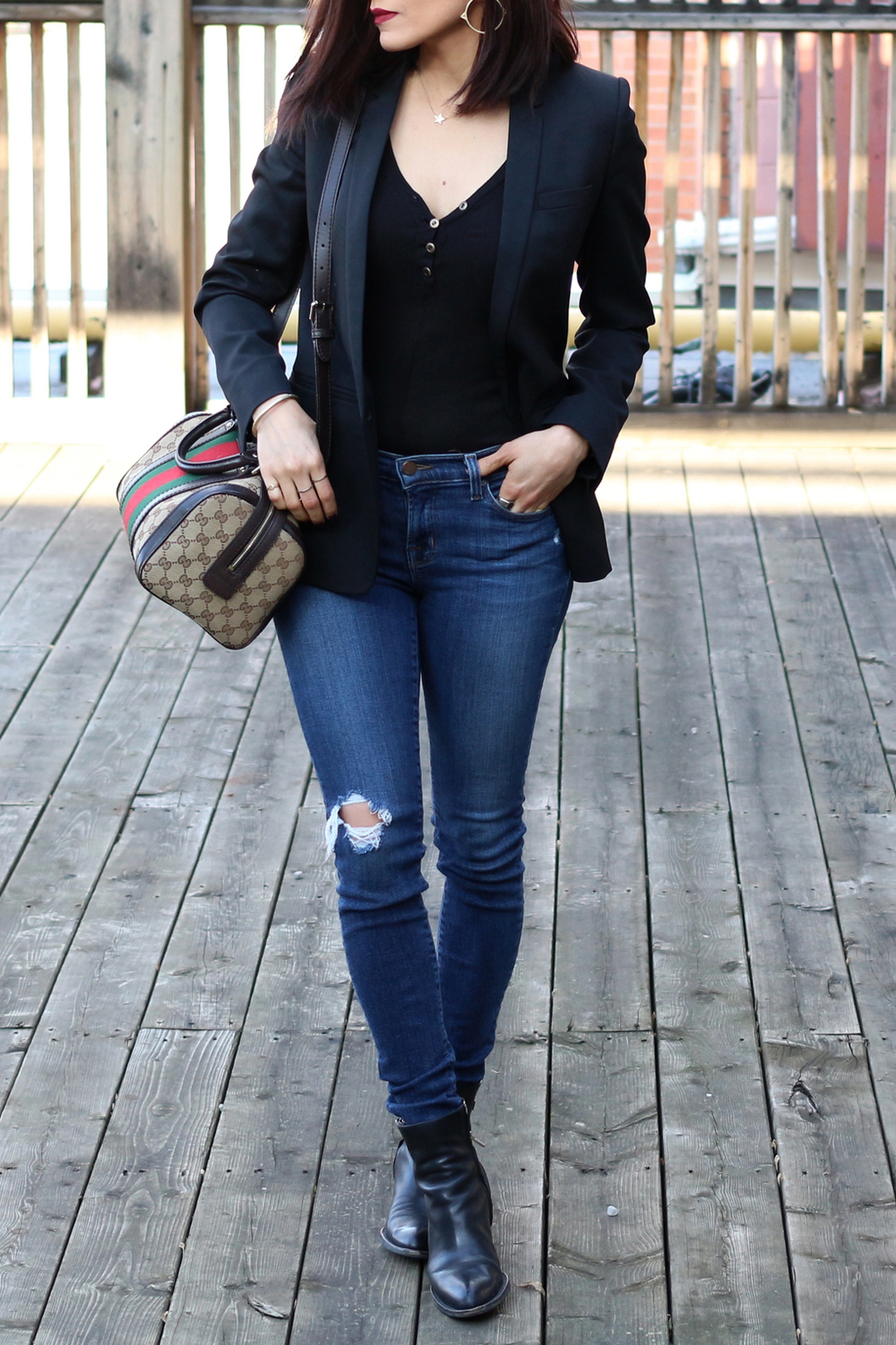 WoahStyle.com-Windsor Store body suit henley-Alexander Wang ankle boots-The Kooples blazer-Jbrand jeans-Gucci Boston bag heritage stripes-ootd-street style-toronto fashion beauty blogger_1.jpg