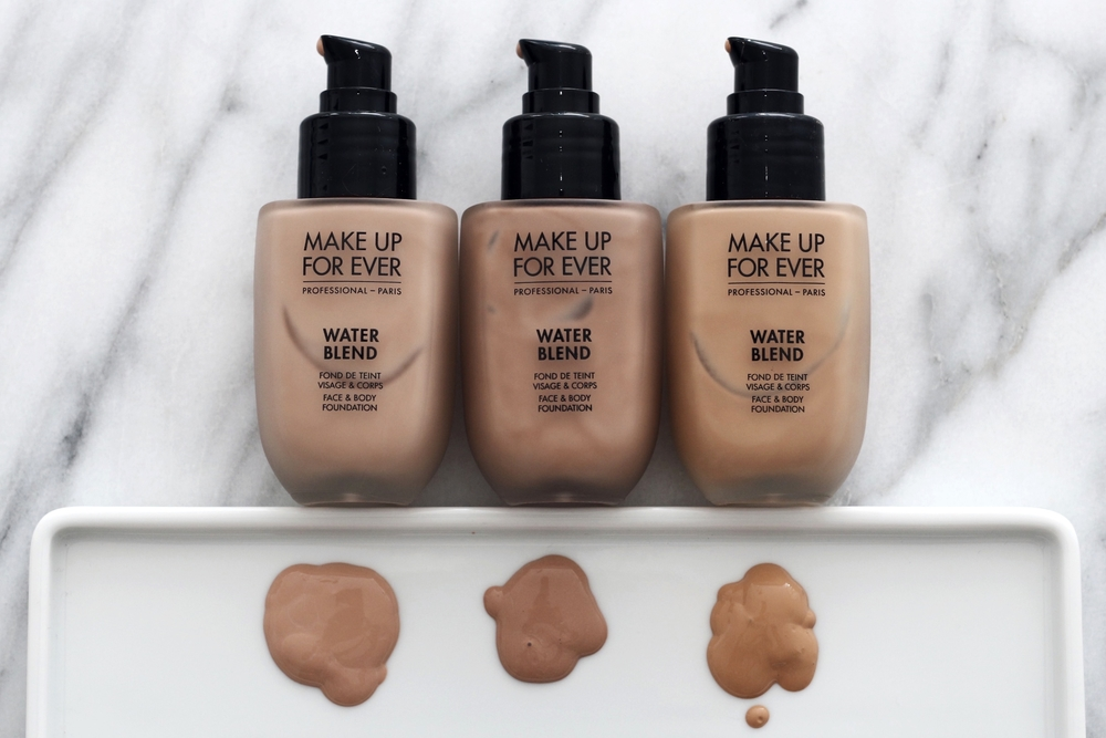 Water Blend Face & Body Foundation in Warm Ivory (R330), Medium Beige (R370) and Golden Honey (Y405). I have medium olive skin and I've been using Y405 on my face and chest when I wear low cut tops.