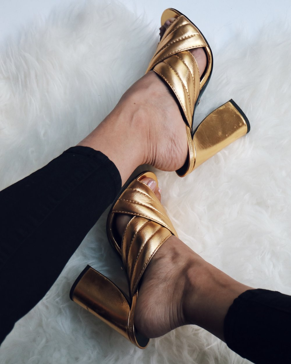 13f07c011616 GUCCI GOLD CROSS OVER SANDALS