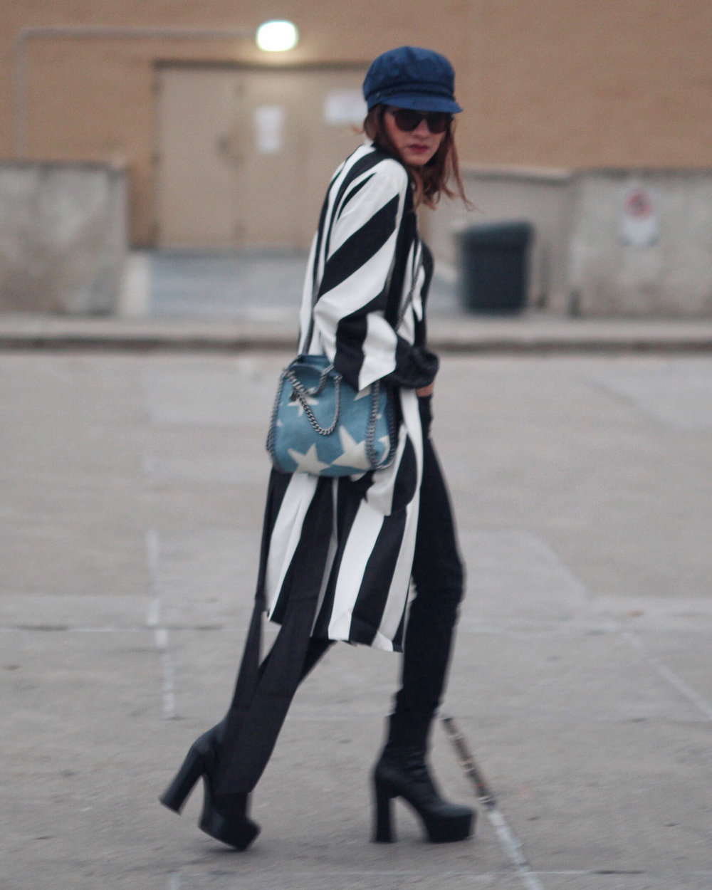Striped Coat, Stella McCartney denim star bag and Saint Laurent Candy Platform boots-1.jpg