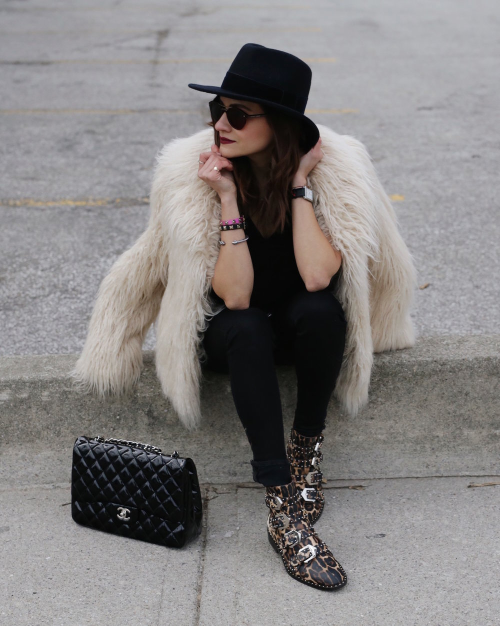 givenchy studded leopard boots, faux fur jacket and patent leather chanel bag - woahstyle.com_5628.JPG