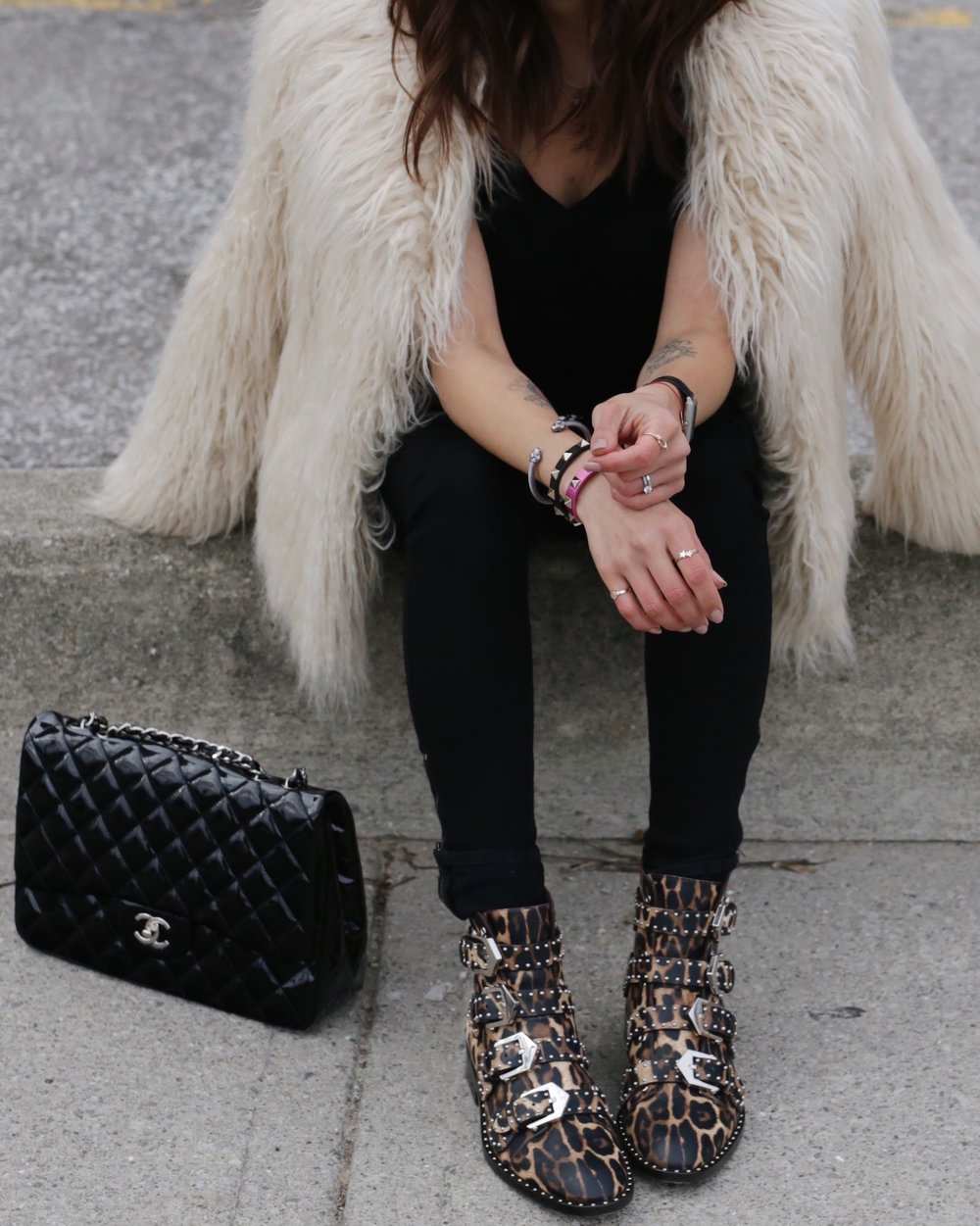 givenchy studded leopard boots, faux fur jacket and patent leather chanel bag - woahstyle.com_5616.JPG