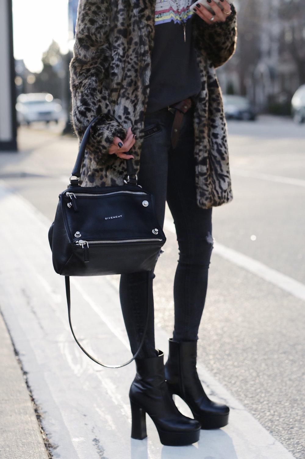 saint laurent black candy platform boots leopard print coat givenchy pandora isabel marant endless tshirt street style woahstyle.com_5703.JPG