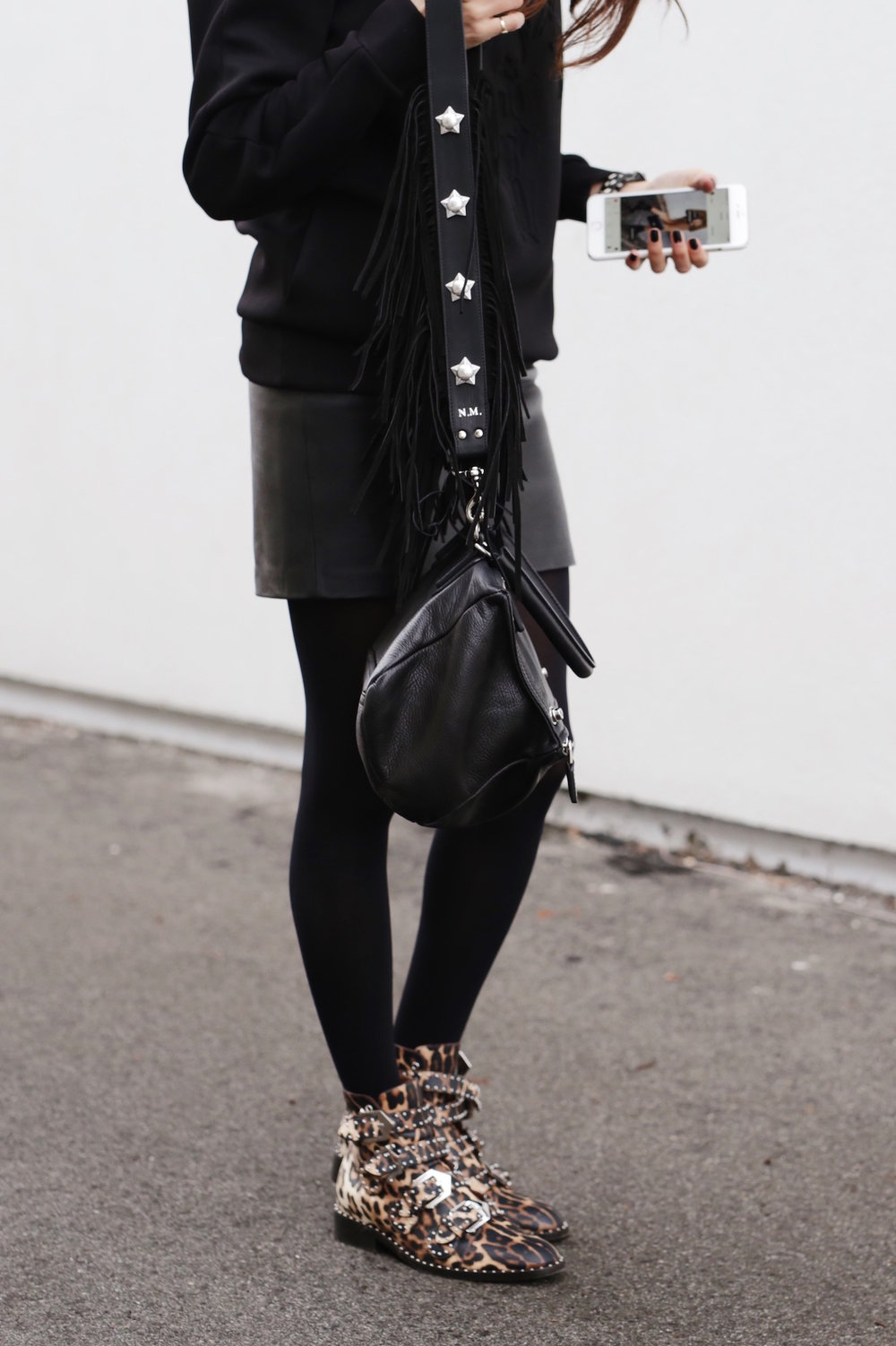 Givenchy leopard print studded boots, Pandora bag, Kate Cate bag strap and leather skirt street style_6026.JPG