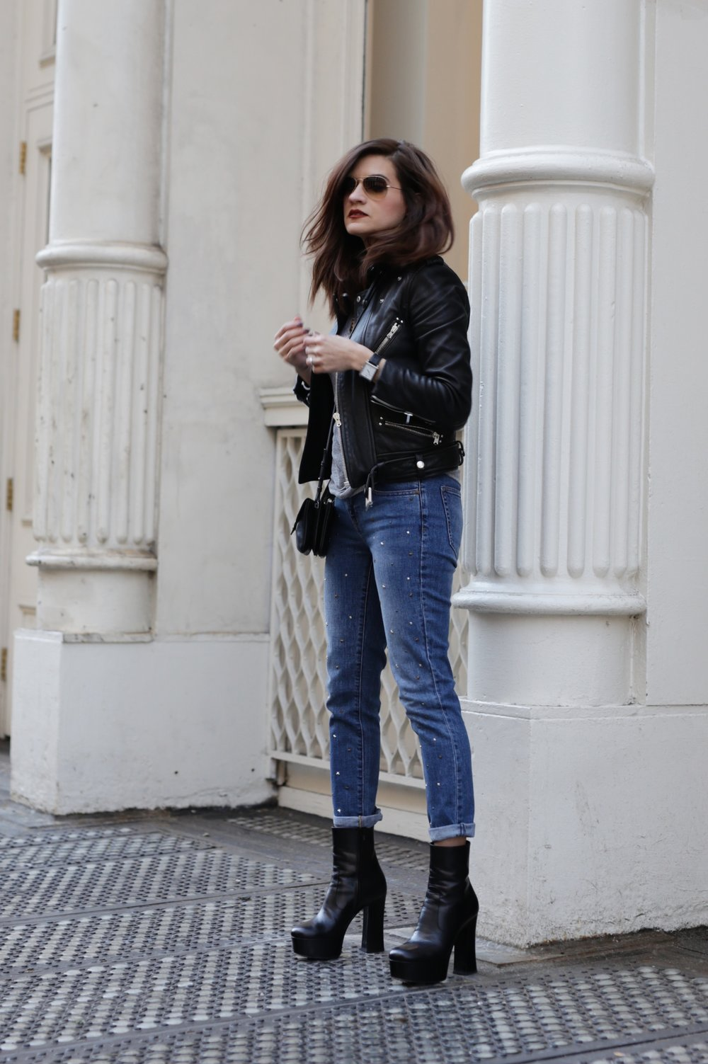 NYC street style - Saint Laurent platform boots, leather moto jacket from The Kooples, YSL cross body bag and Gap studded jeans_6961.JPG
