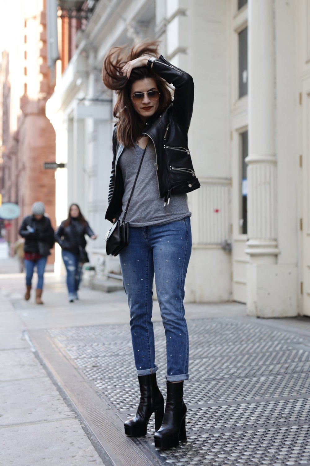 NYC street style - Saint Laurent platform boots, leather moto jacket from The Kooples, YSL cross body bag and Gap studded jeans_6954.JPG
