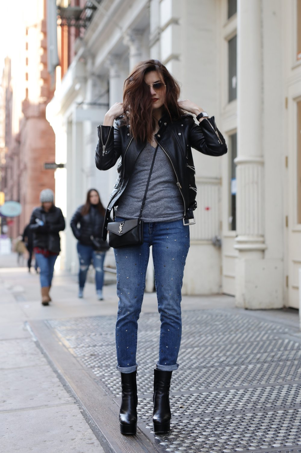 NYC street style - Saint Laurent platform boots, leather moto jacket from The Kooples, YSL cross body bag and Gap studded jeans_6953.JPG