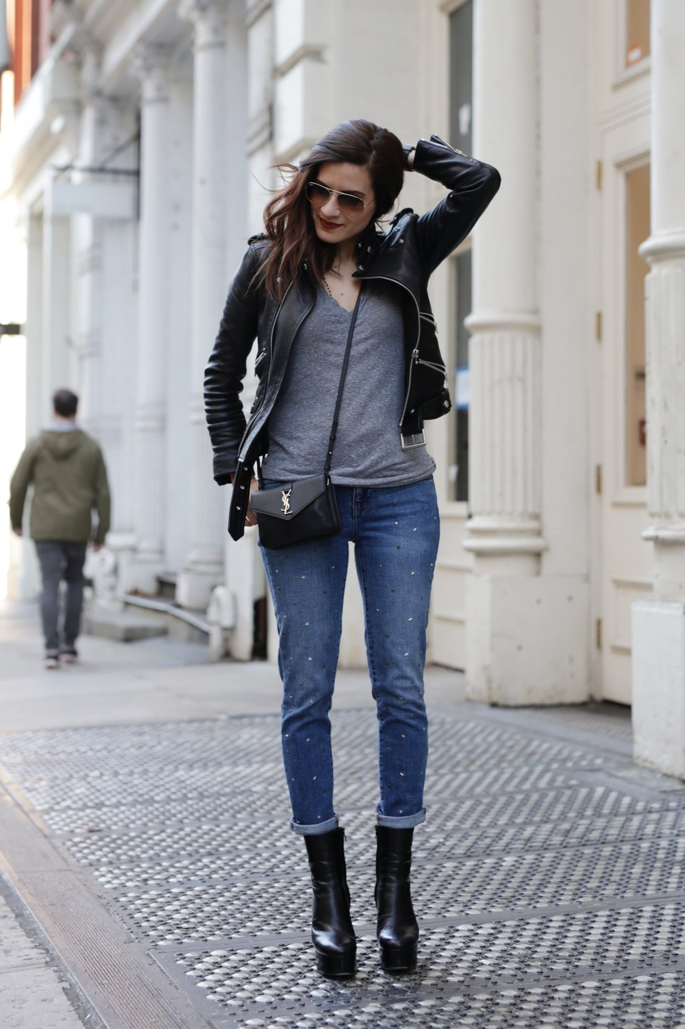 NYC street style - Saint Laurent platform boots, leather moto jacket from The Kooples, YSL cross body bag and Gap studded jeans_6956.JPG