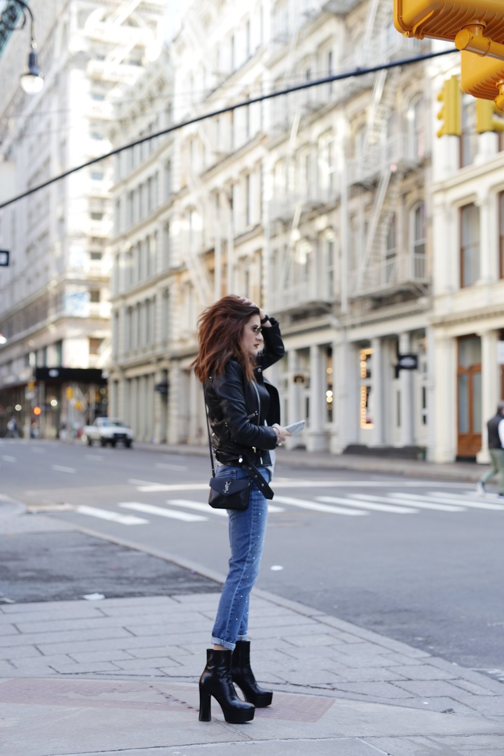 NYC street style - Saint Laurent platform boots, leather moto jacket from The Kooples, YSL cross body bag and Gap studded jeans_6962.JPG