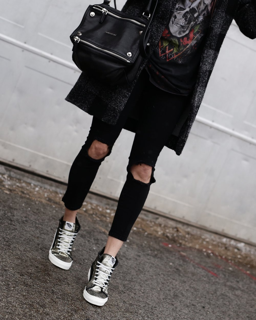 Givenchy Pandora bag, gold Vans SK8-HI sneakers, hoodie, casual street style -10 Statement Sneakers To Buy Now, glitter, metallic, neon, white canvas_7327.JPG