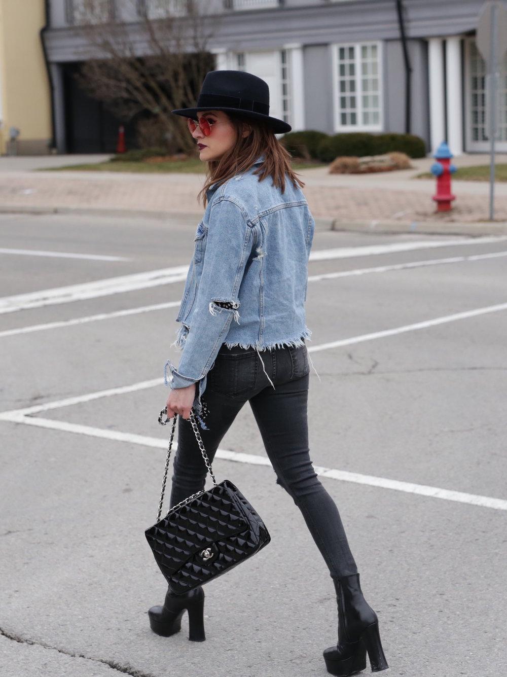 Patent leather Chanel jumbo bag, Saint Laurent platform boots, shredded denim jacket street style - woahstyle.com_7464.JPG