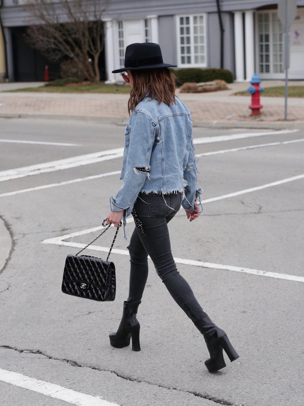 Patent leather Chanel jumbo bag, Saint Laurent platform boots, shredded denim jacket street style - woahstyle.com_7466.JPG