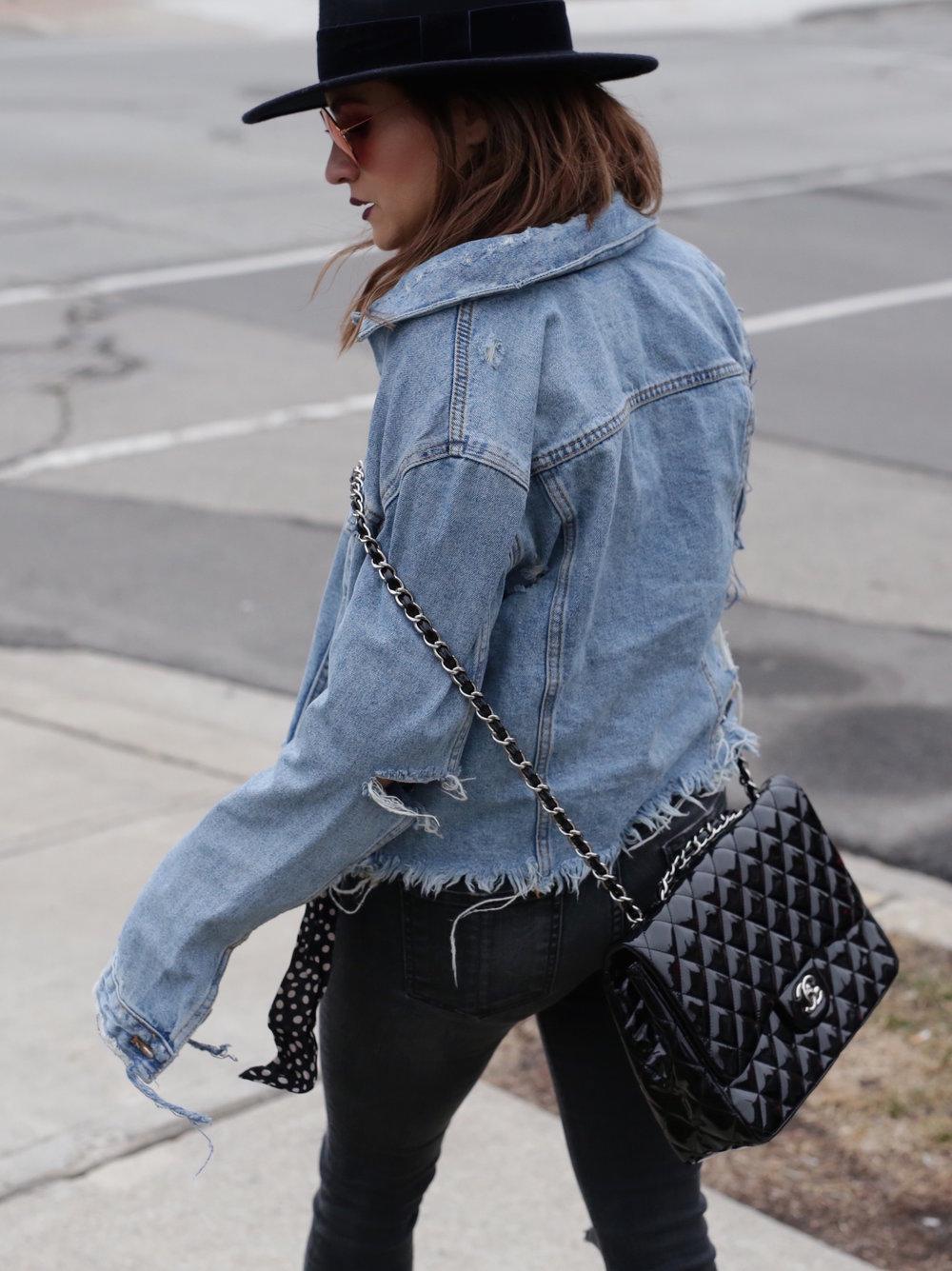 Patent leather Chanel jumbo bag, Saint Laurent platform boots, shredded denim jacket street style - woahstyle.com_7475.JPG