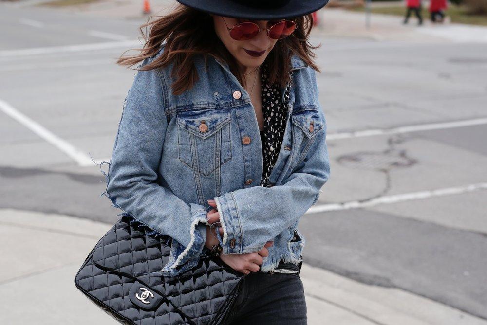 Patent leather Chanel jumbo bag, Saint Laurent platform boots, shredded denim jacket street style - woahstyle.com_7472.JPG