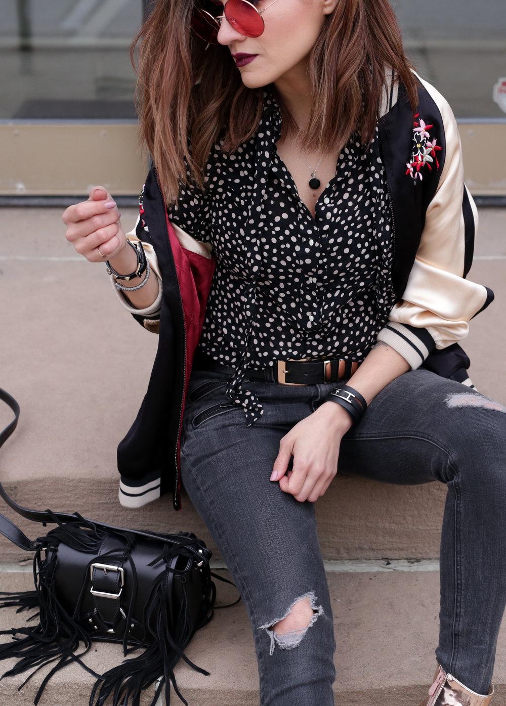 Gold boots, floral embroidered bomber jacket, red tinted round glasses, The Kooples fringe handbag _3478.jpg
