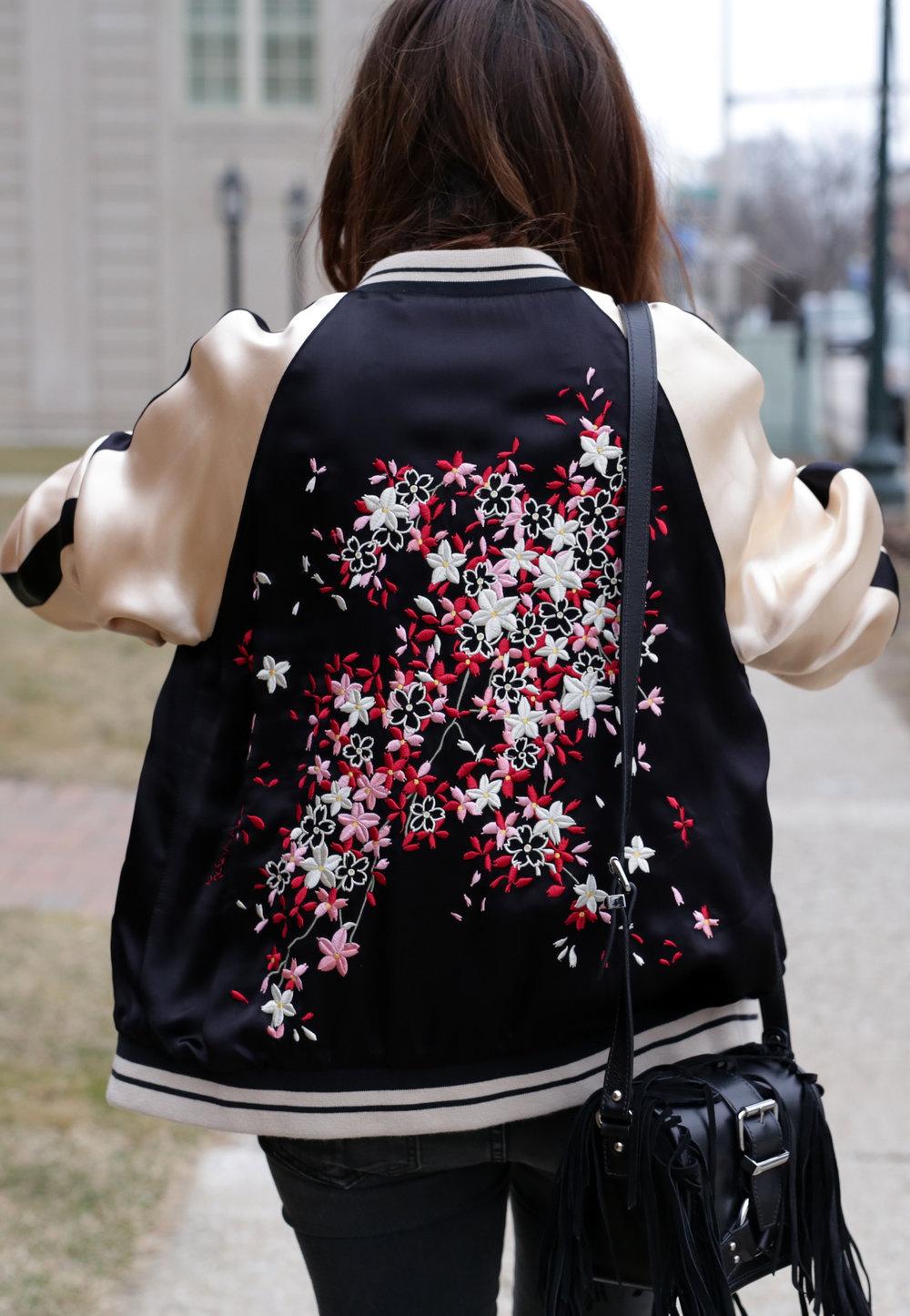 Gold boots, floral embroidered bomber jacket, red tinted round glasses, The Kooples fringe handbag _3484.jpg